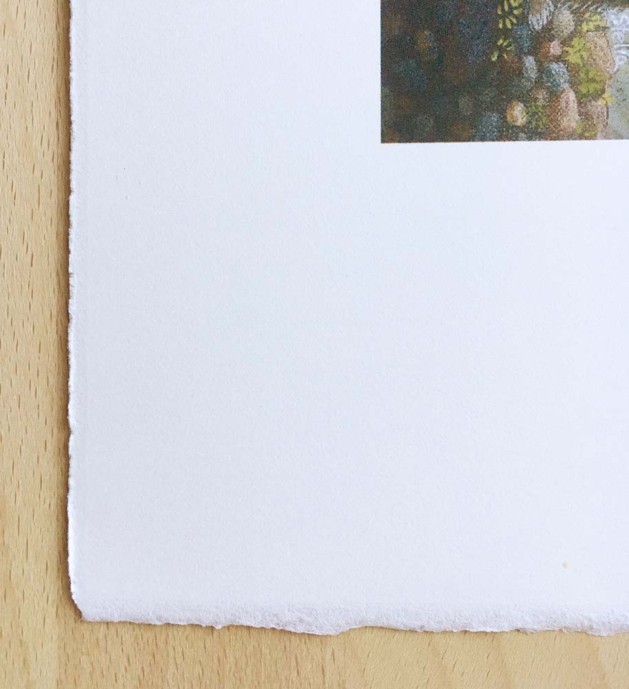 """A corner of a print on """"Arches"""" 100% Cotton rag paper. ©Stella East"""