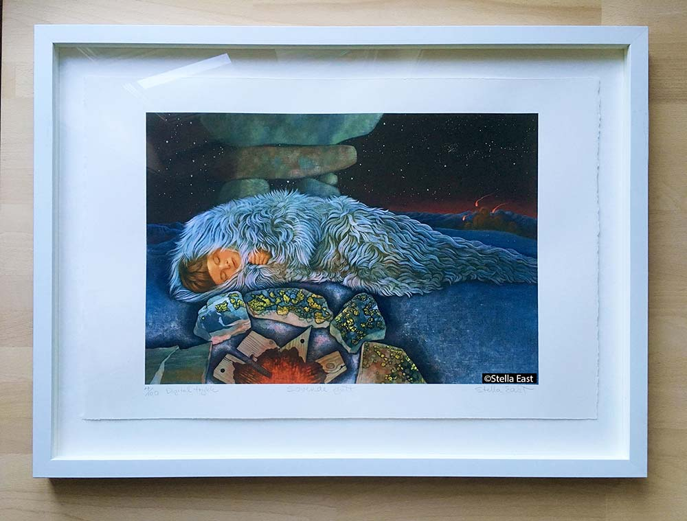 """""""The Sleeping Boy"""" in a wooden, white box frame 50 x 70cm, made at """"Brodins Rammeverksted"""" in Oslo. ©Stella East"""