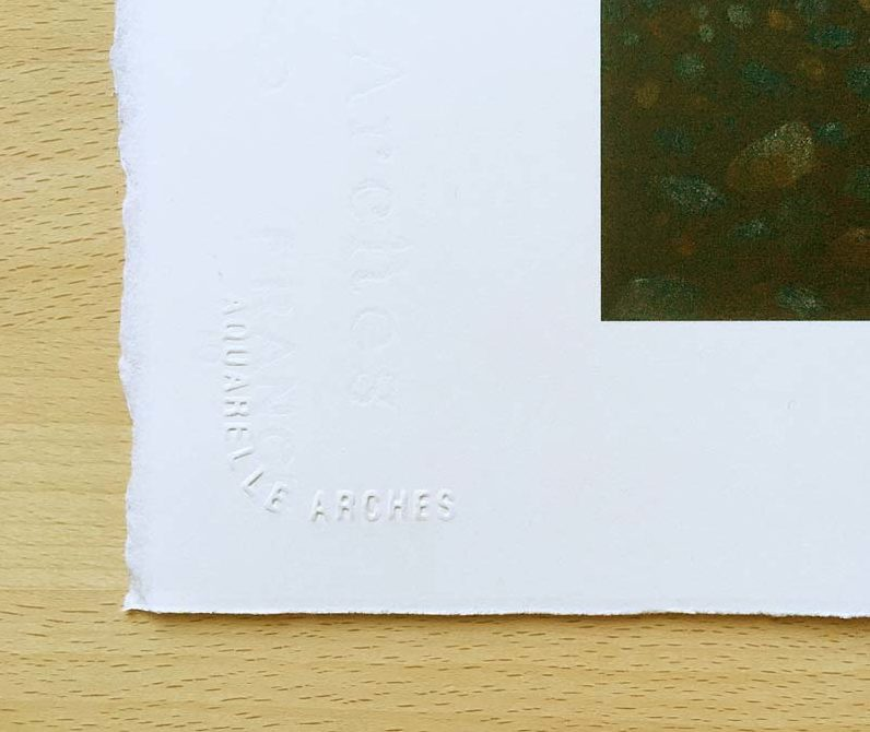 """An """"Arches"""" watermark on the corner of one of the prints. ©Stella East"""